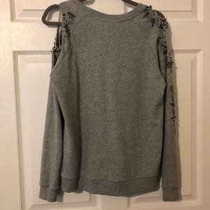 Deletta Heather Gray Beaded Sweatshirt